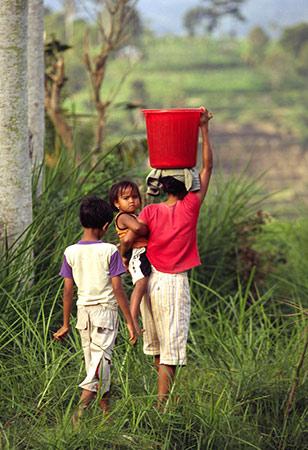Familie loopt naar huis door de rijstvelden op Bali