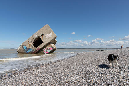 Kunstzinnig versierde bunker bij Pointe du Hourdel